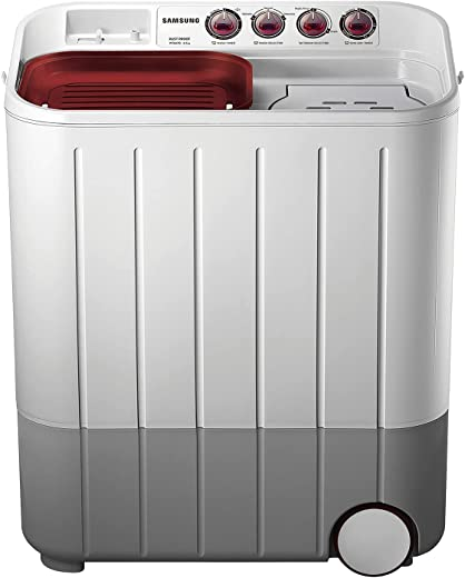 Samsung 6.5 kg Semi-Automatic 5 Star Top Loading Washing Machine (WT667QPNDPGXTL, White and Maroon, Double Storm Pulsator) 1