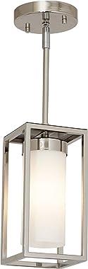 Hamilton Hills Polished Nickel Box Light Pendant LED Cage Lighting Hanging Fixture
