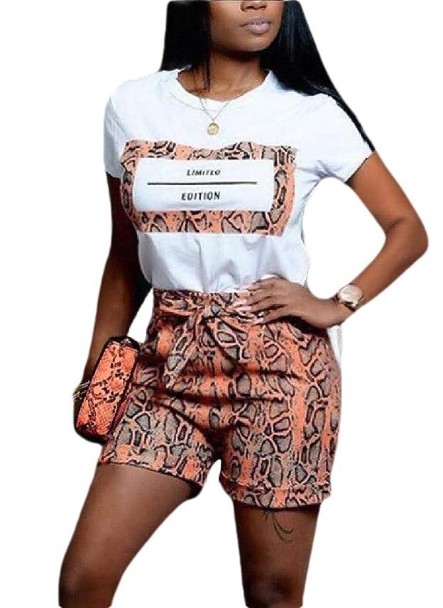 哲学博士赤道運河女性2ピーススポーツカジュアル丸首ショートスリーブプリントTシャツショートパンツセクシークラブ衣装