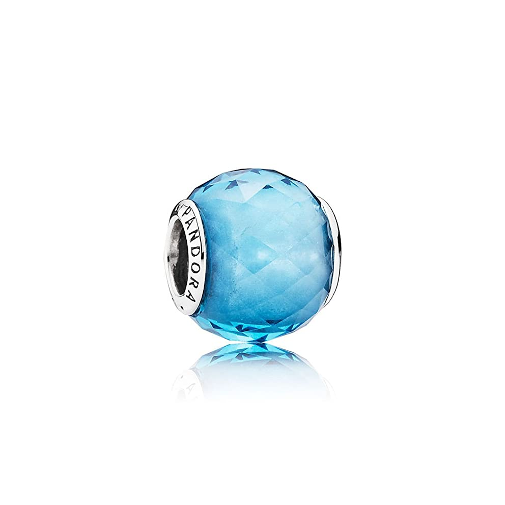 PANDORA 791722NBS Charm Bead Faceted Blue Sky Woman Silver Crystal Faceted