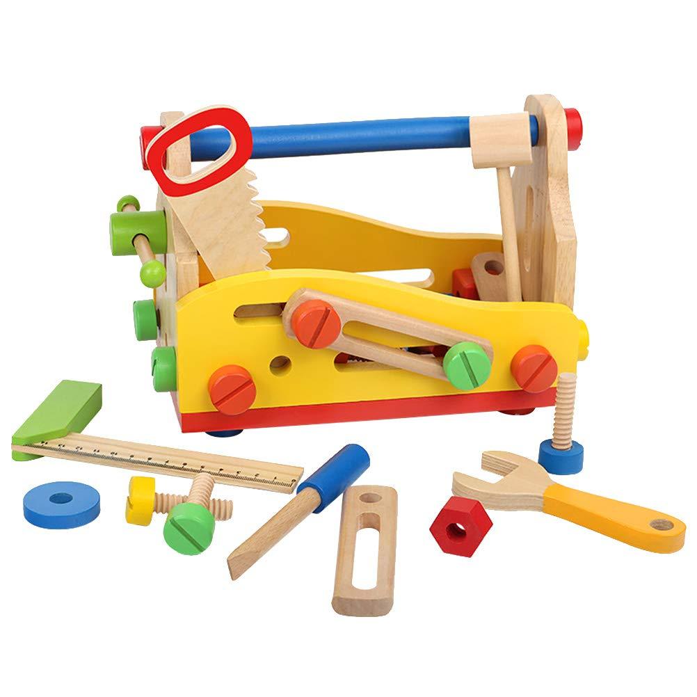Toyvian Caja de Herramientas de Madera Hammer Saw Nut Toy Pretend Role Play Kit Juguetes educativos de construcción para niños: Amazon.es: Juguetes y juegos