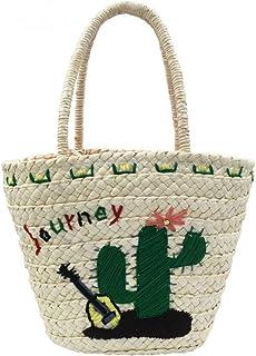 GSERA Stickerei Damenhandtasche Große Kapazität Strohsack Gewebte Damen Schultertasche Strandtaschen Große Tasche