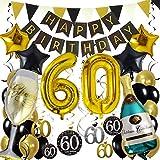 Zerodeco 60° Compleanno Festa Decorazioni, Nero Oro Striscione di Happy Birthday Numero 60 Foil Palloncini Stelle Palloncini Lattice Ballon Turbinii Appesi Bandierine Triangolare Feste di 60° Anni