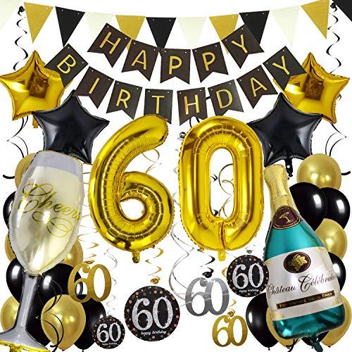 Zerodeco 60. Geburtstag Dekoration, Schwarz Gold Happy Birthday Banner 60. Nummer Goldfolien-Ballone Champagnerflaschen sternförmige Folienballon Hängende Strudel Dreieckige Wimpel Party Zubehör Set