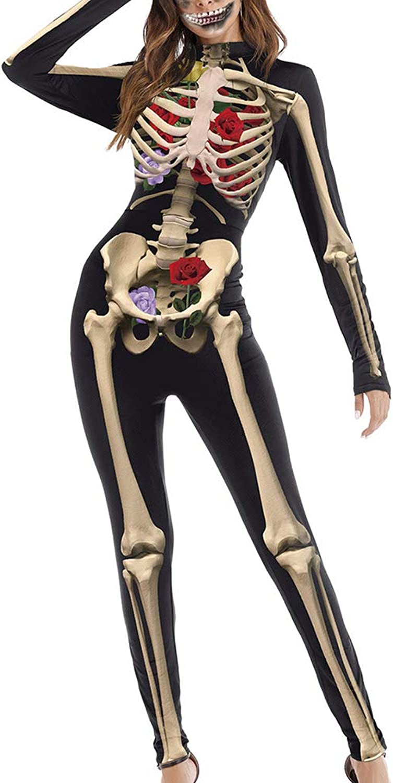 Carprinass Women's Halloween Costumes Jumpsuits Digital Printed Skinny Catsuit