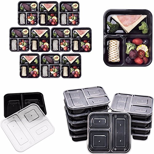 Great Features Of Lumenon 3 Compartment Reusable Food Storage Meal Containers with Lids, Microwave a...