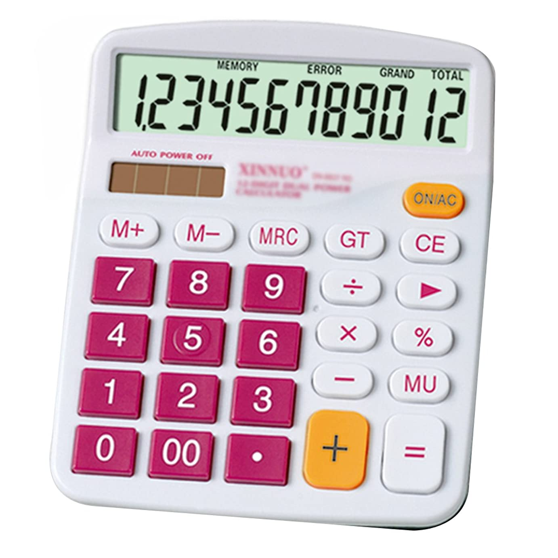 傾向があります安息名誉あるFelice カラフル ビジネス 電卓 機能的 デスクトップ ソーラー AA バッテリー デュアルパワー 電子計算機 12桁 大型ディスプレイ free size ピンク