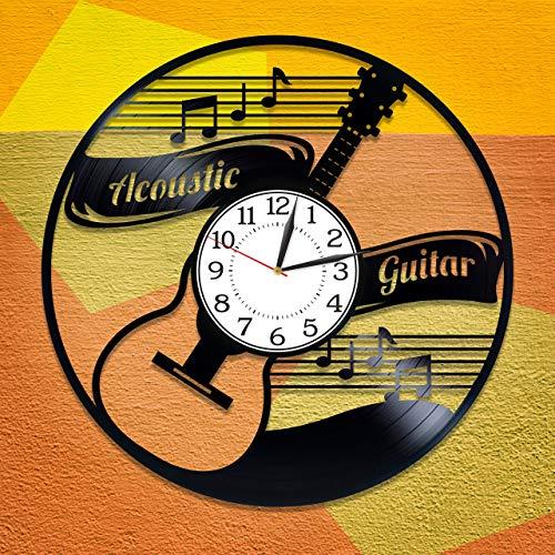 Reloj de vinilo para guitarra acústica con idea de regalo de cumpleaños, para hombre y mujer, música original para decoración del hogar, guitarra acústica y grabadora de vinilo