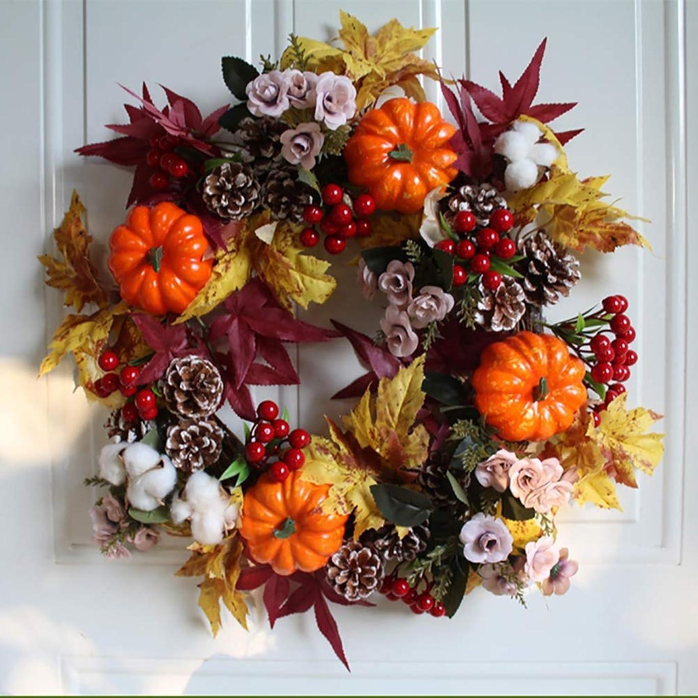 保険をかける誓いブースト18インチの秋の花輪、カボチャ、松ぼっくり、メープルリーフおよび果実が付いている玄関のための秋のかえでの葉の収穫の感謝祭のドアの花輪