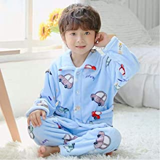 Autumn And Winter Children'S Flannel Lapel Cardigan Pajamas Thickened Young Boys Pajamas Girls Christmas Pajamas