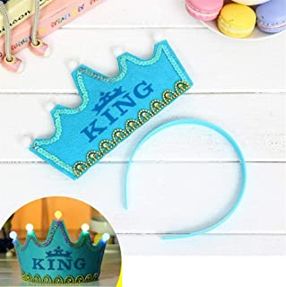 Perfect Party Decoration Holiday Accessories Prince Crown Cake LED Glow Hoop Dress Hat Birthday Party Supplies (Blue , King)