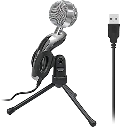 USB Microphone, Plug &Play Home Studio USB Port Condenser Microphone with 360 Degree Rotational Stand for Skype, Recordings for YouTube, Google Voice Search, Promate Tweeter-6