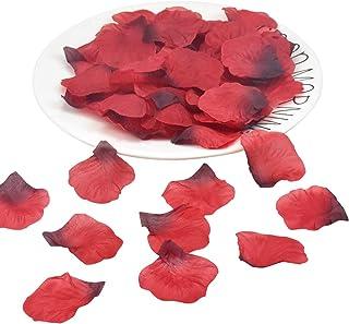 Fodlon 1500 Piezas Petalos de Rosa Artificiales, Pétalos de Rosa en Seda, Confeti para Boda, Noche Romántica, Día de San Valentín, Dispersión de Mesa (Rojo Oscuro)