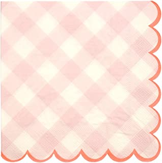 Meri Meri Pink Gingham Large Napkins - Pack of 20 - Neon Print Detail with Scallop Edge, Top Quality Thick Ply