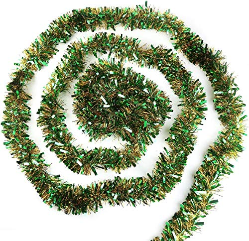 VEYLIN Lametta-Girlande für Weihnachtsbaumdekoration, 10 m, verschiedene Farben, Grün/Gold
