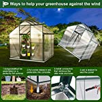 July's song greenhouse,polycarbonate walk-in plant greenhouse with window for winter,garden green house kit for backyard… 16 【extend the growing season】perfect for a first-time or seasoned home gardener, july's song walk-in greenhouses protect plant against rough weather. You can make sure that your plants are healthy and happy all year round. 【sturdy & durable】this diy greenhouse kit is made of 4mm twinwall uv/wind resistant polycarbonate panels and thickened premium aluminum frame,all this together with heavy-duty galvanized base help provide solid support for your entire plant nursery. 【multi-function design】the greenhouse for outdoor has sliding doors for easy access, roof vent for effortless ventilation, and rain gutters for effective drainage of water and snow.