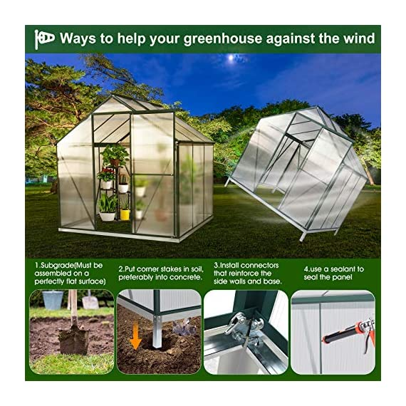 July's song greenhouse,polycarbonate walk-in plant greenhouse with window for winter,garden green house kit for backyard… 8 【extend the growing season】perfect for a first-time or seasoned home gardener, july's song walk-in greenhouses protect plant against rough weather. You can make sure that your plants are healthy and happy all year round. 【sturdy & durable】this diy greenhouse kit is made of 4mm twinwall uv/wind resistant polycarbonate panels and thickened premium aluminum frame,all this together with heavy-duty galvanized base help provide solid support for your entire plant nursery. 【multi-function design】the greenhouse for outdoor has sliding doors for easy access, roof vent for effortless ventilation, and rain gutters for effective drainage of water and snow.