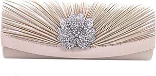 MEGAUK Damen Satin Clutch Strass Glitter Bankett Handtasche Kleidertasche Umschlag Envelope Tasche Unterarmtasche mit Kett...