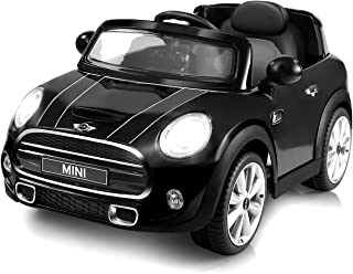 Costzon Ride On Car, Licensed BMW Mini Cooper Electric Car, 12V Battery Powered Kids Vehicle with Manual/ Parental Remote Control Modes , MP3 Port, Headlights, Music, High/Slow Speeds (Black)