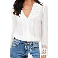FANCYINN Women Lace Splicing Chiffon Long Sleeve V-Neck White Blouse