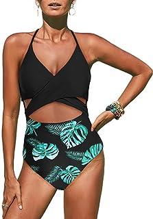 WooCo Angebote Damen Bademode Push Up Bikini Einteiliger Badeanz/üge Backless Bauchkontrolle Schlank Beachwear Frauen Dot Print//Solid Color Monokini