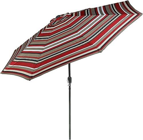 new arrival Sunnydaze 9 Foot Outdoor 2021 Patio Umbrella with Push Button Tilt & Crank, Aluminum, wholesale Awning Stripe online sale
