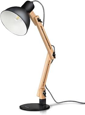 Tomons Décoration Lampe de Table LED Lampe de Bureau Salon Design Original Lampe en Bois Architecte Moderne Réglable Luminair