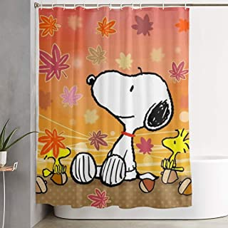Duwamesva Shower Curtain Autumn Snoopy Art Print, Polyester Fabric Bathroom Decorations Collection with Hooks- 60 X 72 Inch