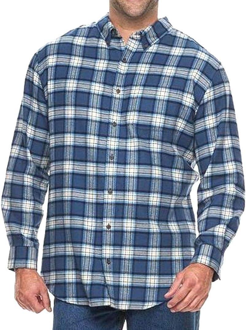 Croft & Barrow Mens Classic Fit Flannel Shirt Blue Plaid Big & Tall