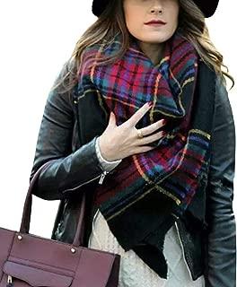 Women's Plaid Blanket Winter Scarf Warm Cozy Tartan Wrap Oversized Shawl Cape