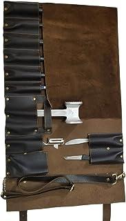 Profesional Chef ligera bolsa 11bolsillos de piel auténtica Premium Chef Cuchillo/Cuchillo de chef rollo # K1-11 marrón oscuro