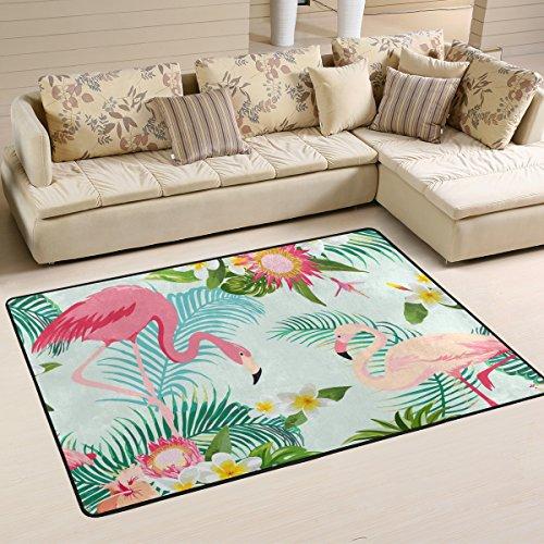 Ingbags Feuille Fleur flamants roses Salon salle à manger Zone Rugs 3 x 2 pieds Chambre Rugs Bureau Tapis moderne Tapis de sol Tapis Home Decor, multicolore, 6 x 4 Feet