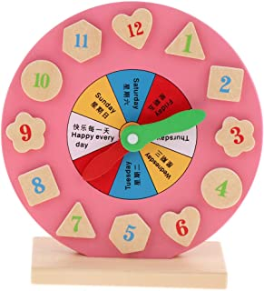 CUTICATE Wooden Clock Educational Toy Number Time Week Shape Learning Puzzle For Kids