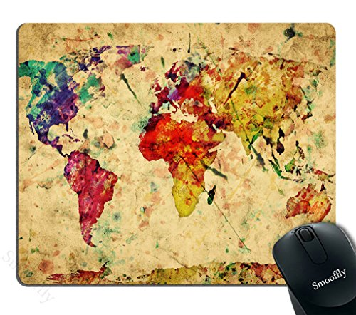Smooffly Map Mouse pad Custom,Colorful World Map on Vintage Paper Background Personality Gaming Mouse Pad