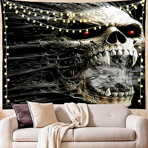 Tapiz de calavera floral en blanco y negro para colgar en la pared, dormitorio, decoración oscura, tapiz hippie personalizado, manta de tela A2 100x150cm