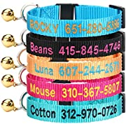 DayDay Patch Personalized Cat Collar with Bell,Custom Cat Collars with Name and Phone Number Adjustable Nylon Embroidered ID Collar for Cat with Breakaway Safety Release Buckle (Style1)