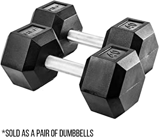 REP FITNESS Rubber Hex Dumbbells, with Low Odor and Fully Knurled Handle