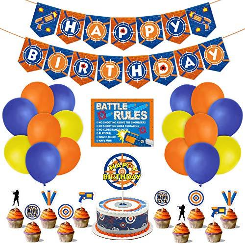 Dart War Party Supplies 53pcs Gun Theme Birthday Party Decorations Dart War Banner Balloons Boy#039s Birthday Party Themed Dart Battle Latex Balloons Cake Cupcake Topper