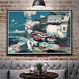 N / A Pintura sin Marco Concepto de Arte Pintura al óleo Paisaje Arte Pintura al óleo Real Cartel Inicio decoración de la pared50X75cm
