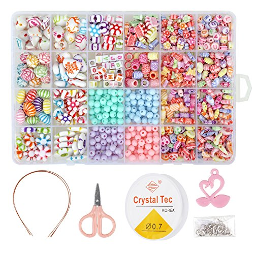 850PCS DIY Bead Set with a Coiling, a Scissors and 3 Hairpins, 24 Different Types and Shapes Colorful Amblyopia Training Acrylic DIY Beads in a Box, Children