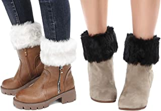 Womens Fur Trim Boot Cuff Top Cover Leg Warmers