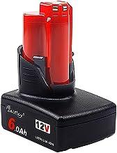 Waitley 12V 6.0Ah/6000mAh Milwaukee M12 Batería de Repuesto Li-ion para herramientas inalámbricas de iones de litio 48-11-2440 48-11-2402 48-11-2411