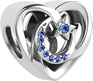 Lifequeen 925 Sterling Silver I Love You to The Moon and Back Charms Star Blue Simulated Birthstone Charm for Bracelets