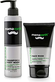 Mamaearth Recharge Energizing Shampoo And Bodywash For Men With Caffeine And Menthol + Refresh Oil Control Facewash For Me...