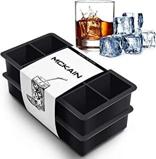 McKain Ice Cube Trays Silicone Square Flexible Ice Cube Molds Whiskey Ice Cube Maker for Cocktails, Bourbon, Keep Drinks Chilled - Reusable & BPA Free (Set of 2)