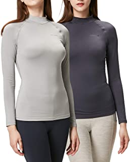 DEVOPS Women's 2 Pack Thermal Heat-Chain Compression Baselayer Tops Mock Turtleneck Long Sleeve T-Shirts
