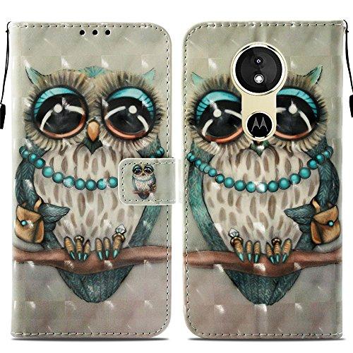 Ooboom® Motorola Moto E5/G6 Play Hülle 3D Flip PU Leder Schutzhülle Stand Handy Tasche Brieftasche Wallet Hülle Cover für Motorola Moto E5/G6 Play - Eule Grau