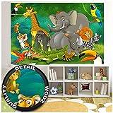Póster para habitación infantil - Animales de la selva - Cuadro de pared para sala de juegos Decoración Fiesta de animales de la selva Zoológico Parque de vida silvestre Naturaleza Safari Aventur
