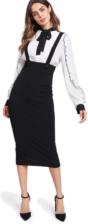 Milumia Women Strap Slit Back High Waist Pencil Bodycon Midi Suspender Pinafore Skirts