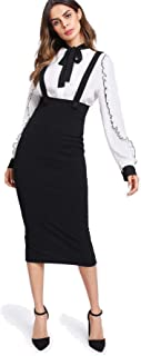 Women Strap Slit Back High Waist Pencil Bodycon Suspender Pinafore Skirt